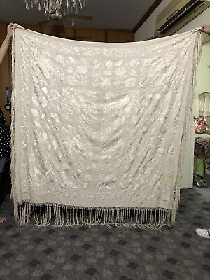 """Antique Chinese Hand Embroidered Silk Piano Shawl 66"""" X 65"""" Fringe 11"""""""