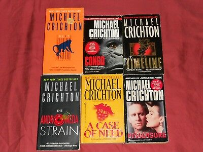 MICHAEL CRICHTON pb Book Lot of 6: Sci Fi Thrillers~TIMELINE Next CONGO Disclosu