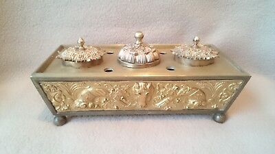 Antique French Paris Ormolu Gilded Bronze Inkwell Ink Stand Neoclassical Style