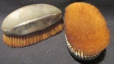 Victorian Era 2 Matching Sterling Silver Oval Monogrammed Boot/Clothes Brushes