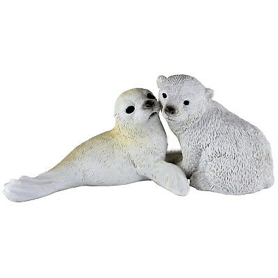 "Baby Polar Bear and Seal Figurine Resin 5.25"" Long New In Box!"