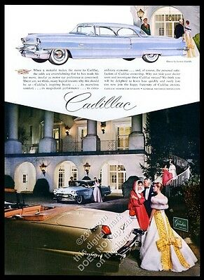 1956 Cadillac Coupe deVille light blue car art convertible photo print ad