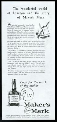 1959 Makers Maker's Mark whisky The Wonderful World of Bourbon story print ad
