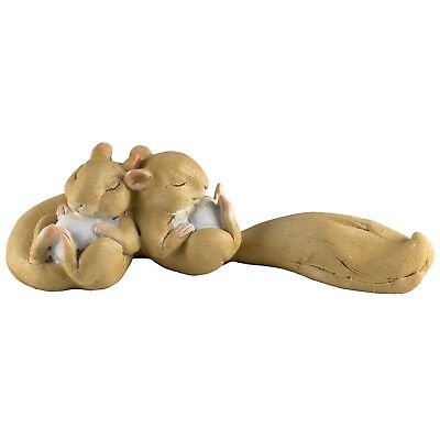 "Pair of Little Sleeping Squirrels Figurine 4"" Long Resin New In Box!"