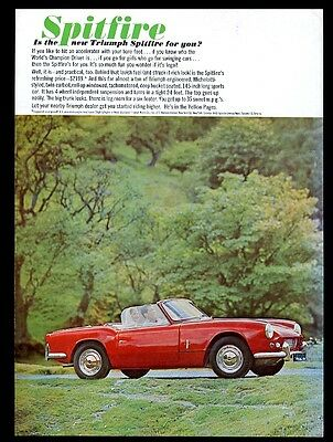 1963 Triumph Spitfire red car photo vintage print ad