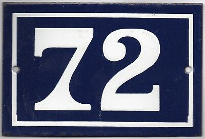 Old blue French house number 72 door gate plate plaque enamel metal sign steel