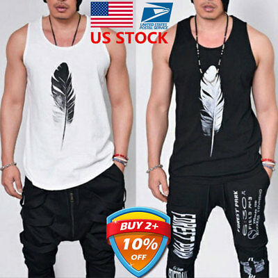 US Men Sleeveless Fitted T-shirt Vest Muscle Shirts Summer Casual Tank Tops Tee