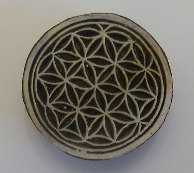 Flower of Life Round 5cm Indian Hand Carved Wooden Printing Block Stamp