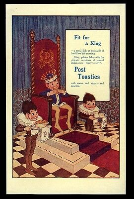 1914 Post Toasties cereal elf king art vintage print ad