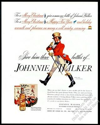 1937 Johnnie Walker Scotch Whisky Christmas theme vintage print ad
