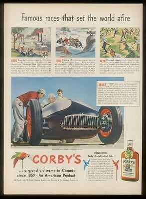 1950 Norm Oldon Special race car photo Corby's Whiskey vintage print ad