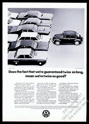 1972 VW Beetle classic car photo We're Twice As Good Volkswagen 11x8 print ad