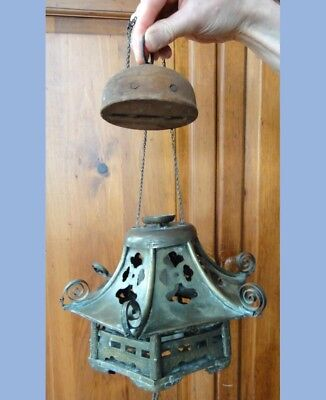 antique BRASS HANGING LAMP electric TIERED