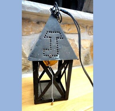 antique ARTS CRAFTS/MISSION early HAND PUNCHED TIN LANTERN hanging,electric