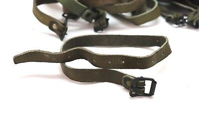 """WWII US leather straps shades of green approx 18""""L x 5/8""""w x 3mm each E9939"""