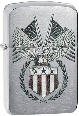 Zippo 11468 American Eagle Brushed Chrome Lighter 2.25 x 1.4375