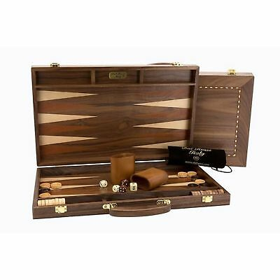 Dal Rossi Backgammon Wooden Walnut Set with Handle 38cm