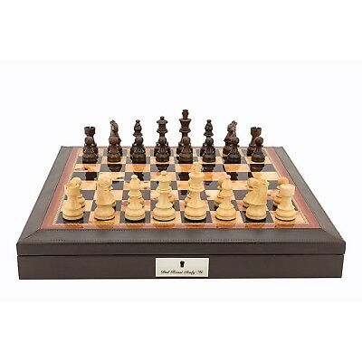 Dal Rossi Walnut Finish and PU Leather Bevelled Edge Chess Set