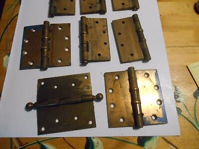 lot 8 vintage antique bronze brass hinge 7 stanley 1 ball top unpolished 4.1/2""