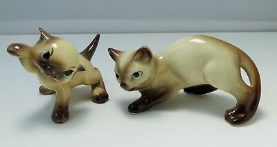 Vintage Ceramic Siamese Cats - Adorable Kitten Attack Pose and Stalking Cat