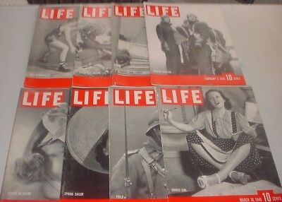 LOT OF 8 Vintage Life Magazines 1940 WORLD WAR II FASHION SPORTS POLITICS ADS