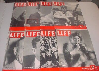 LOT OF 8 Vintage Life Magazines 1940 WORLD WAR II US TANK COMMANDER FASHION ADS