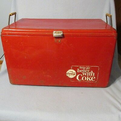 """Vintage Coca-Cola Ice Chest Cooler """"things go better with Coke"""" 1950's"""