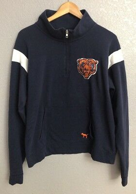 Victorias Secret PINK NFL Chicago Bears Sweatshirt Sequin Navy Orange Size L