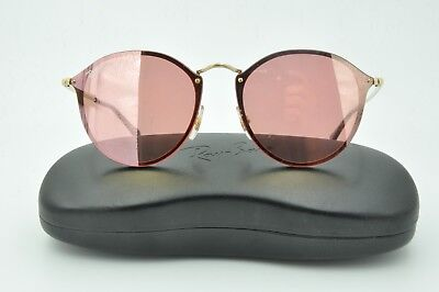 0068471798 RAY-BAN SUNGLASSES NEW BLAZE ROUND Gold Pink Mirror RB3574N 001 E4 ...