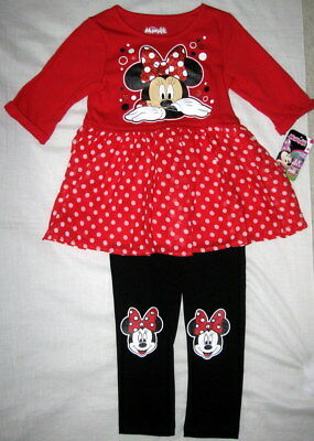 Nwt Disney Minnie Mouse 2-Pc Girls Outfit Red Sparkly Tunic Leggings Size 5T