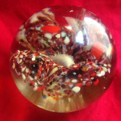 Old BEAUTIFUL Antique Multi-Color Floral Flower Large Art Glass Paperweight RARE
