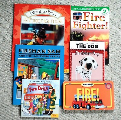 Lot of 6 Children's Books About Firefighters, Fire Trucks