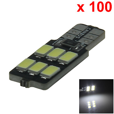 100x White Auto T10 W5W Interior (Map/Dome) Light 6 5630 SMD LED Z20254