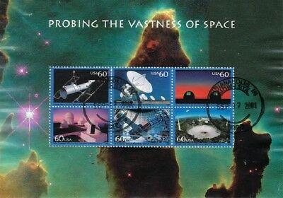 Set of 4 2000 Used Very Nice Space Souvenir Sheets Sc.#3409, 3410, 3411, 3413