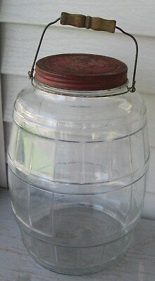 Antique Armour Lg Glass Pickle Jar W/red Lid W/graphics, Bail Handle, Wood Grip