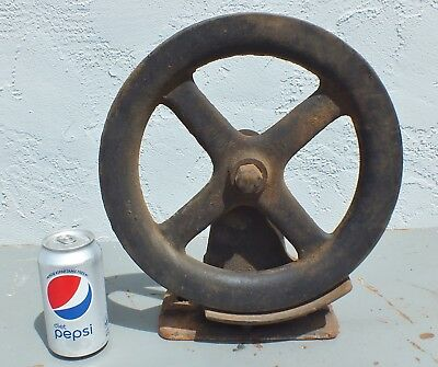 """Large 12"""" pulley wheel old heavy duty iron barn rustic vintage industrial Steamp"""
