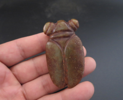 Old Chinese HongShan culture jade hand-carved cicada amulet pendant Y3288
