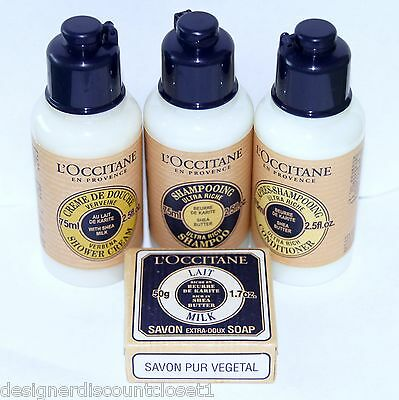 New L'OCCITANE 4 pc Shea Butter Bath and Shower Large Travel Set Free Ship