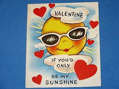 Vtg 50's Anthropomorphic Sun w Sunglasses Valentine Card Colortype Created