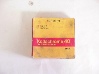 Vintage Kodak Kodachrome 40 Color Movie Film Type A 50 ft  Super 8 Cartridge