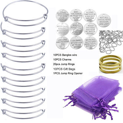 10PCS/Set Silver Tone Expandable Wire Bangle Bracelets Charms Gift Bag
