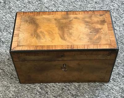 Victorian cross banded walnut tea caddy with twin divisional interior