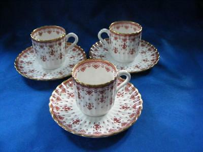 """Spode """"fleur De Lys"""" Red - 3 Coffee Cans & Saucers- Very Good Condition !"""