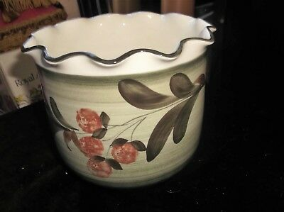 Jersey Pottery Glazed Pot Holder Soft Greens Handpainted Berries Frill Rim 5""
