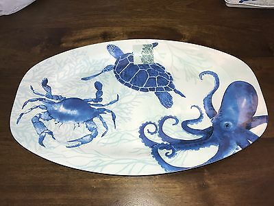 "TOMMY BAHAMA BLUE SEA TURTLE/CRAB/OCTOPUS MELAMINE 16"" x 10"" OVAL PLATTER NWT"