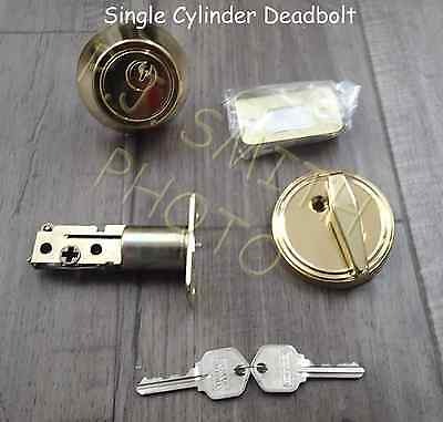 Quanity 3 Deadbolt single cylinder lock Polished Brass Keyed Alike