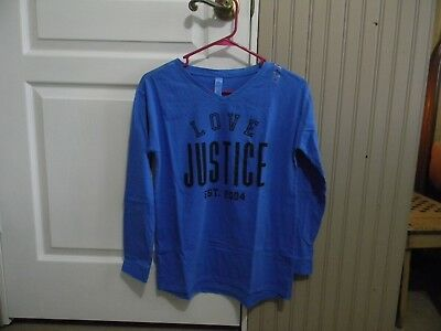 Nwt Justice Girls Love Justice L/s V-Neck Tee 14 Blue/black
