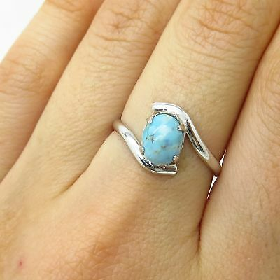Vtg Uncas 925 Sterling Silver Real Larimar Gemstone Bypass Ring Size 7 1/4