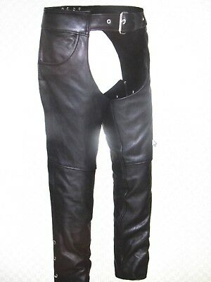 NEW MENS BLACK LEATHER MOTORCYCLE SOFT COWHIDE CHAPS Jean Pockets, Lined