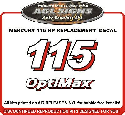 MERCURY 115  Optimax Outboard Replacement Decal   150 175 200 225 250